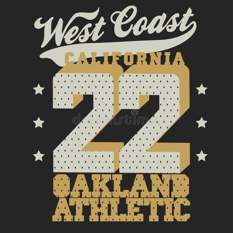 Дизайн футболки спорта Калифорнии иллюстрация вектора