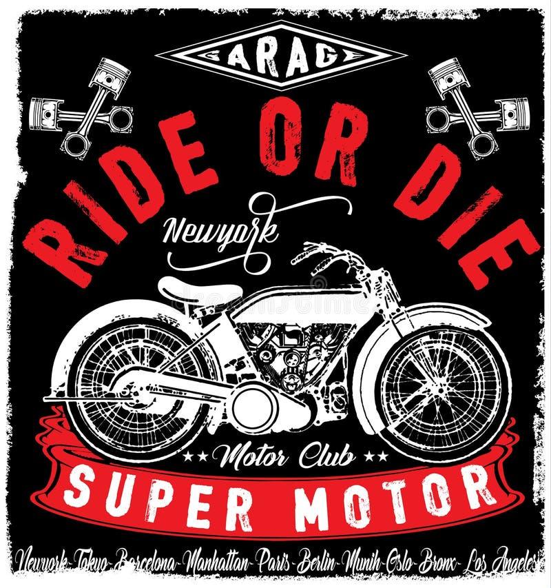 Дизайн футболки ярлыка мотоцикла с иллюстрацией изготовленной на заказ отбивной котлеты иллюстрация штока
