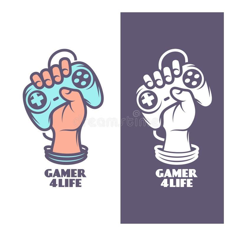 Дизайн футболки Gamer на всю жизнь Рука с кнюппелем Иллюстрация года сбора винограда вектора иллюстрация штока