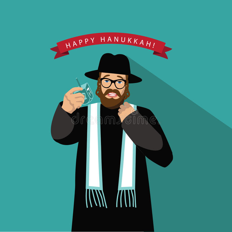 Дизайн Хануки равина счастливый плоский иллюстрация штока
