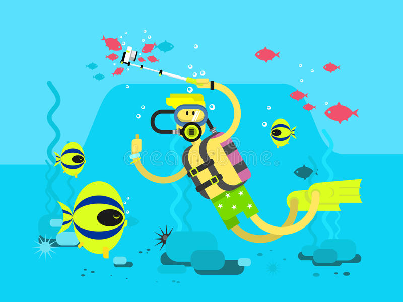 Дизайн характера водолаза плоский бесплатная иллюстрация