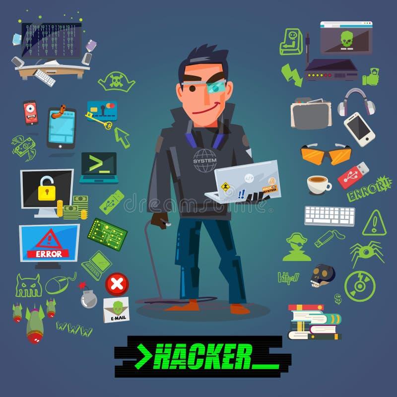 Дизайн характера хакера или программиста с комплектом значка приходит с типографским для дизайна заголовка - иллюстрации иллюстрация вектора