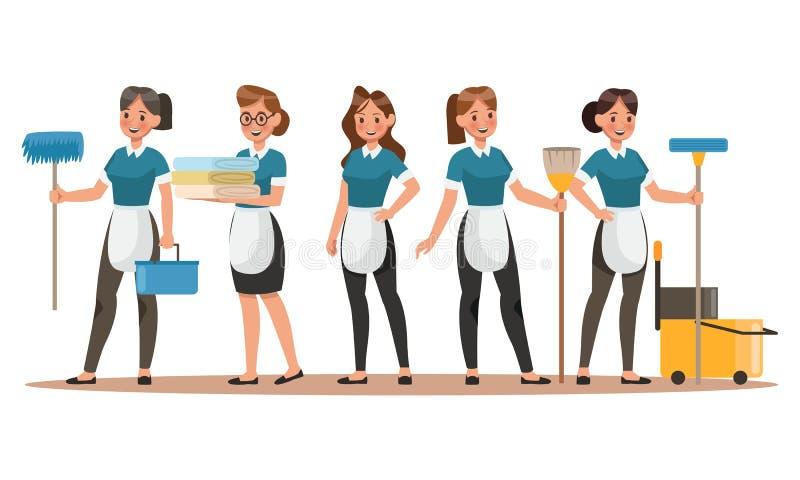 Дизайн характеров уборщиц Счастливая чистка Дизайн концепции вектора компании чистки иллюстрация вектора