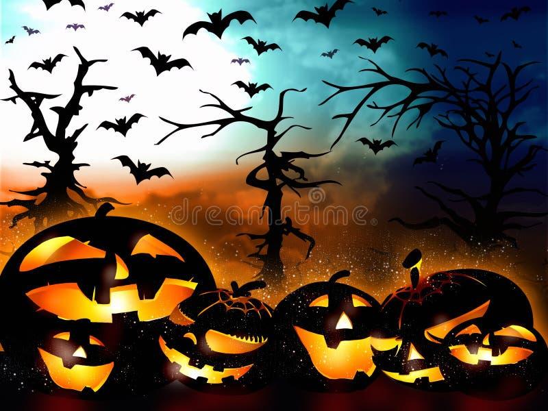 Дизайн хеллоуина, тыквы на предпосылке леса бесплатная иллюстрация