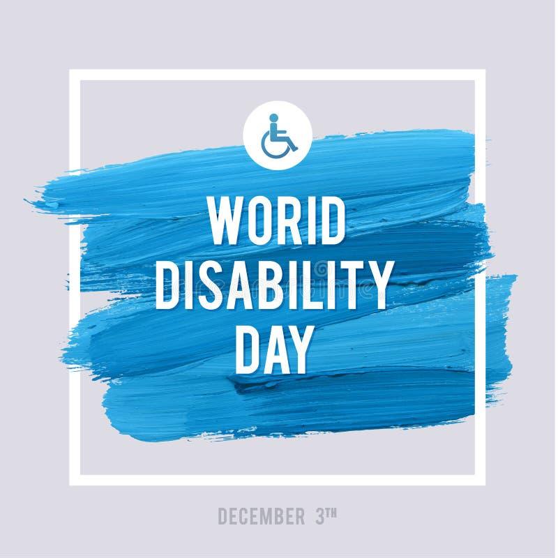 Дизайн хода щетки акварели оформления дня инвалидности мира, иллюстрация вектора Плакат влияния Grunge важный бесплатная иллюстрация