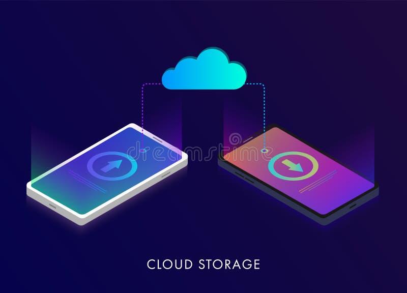 Дизайн хранения 3d облака равновеликий плоский, передачи данных на технологии облака интернета от устройства к устройству r иллюстрация вектора