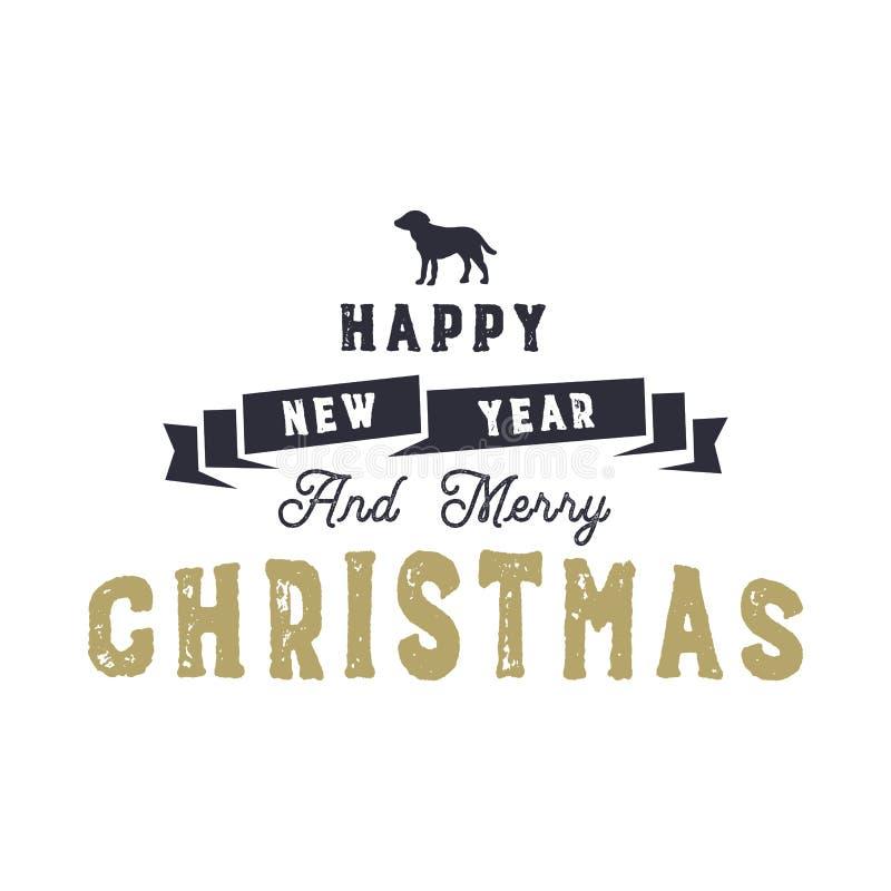 Дизайн цитаты оформления рождества Новый Год рождества счастливое веселое Знак праздников с символом собаки вдохновляюще иллюстрация вектора