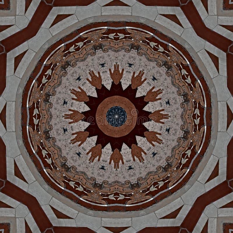 Дизайн цифрового искусства, цветная мозаика в серо-коричневом и красном цвете бесплатная иллюстрация