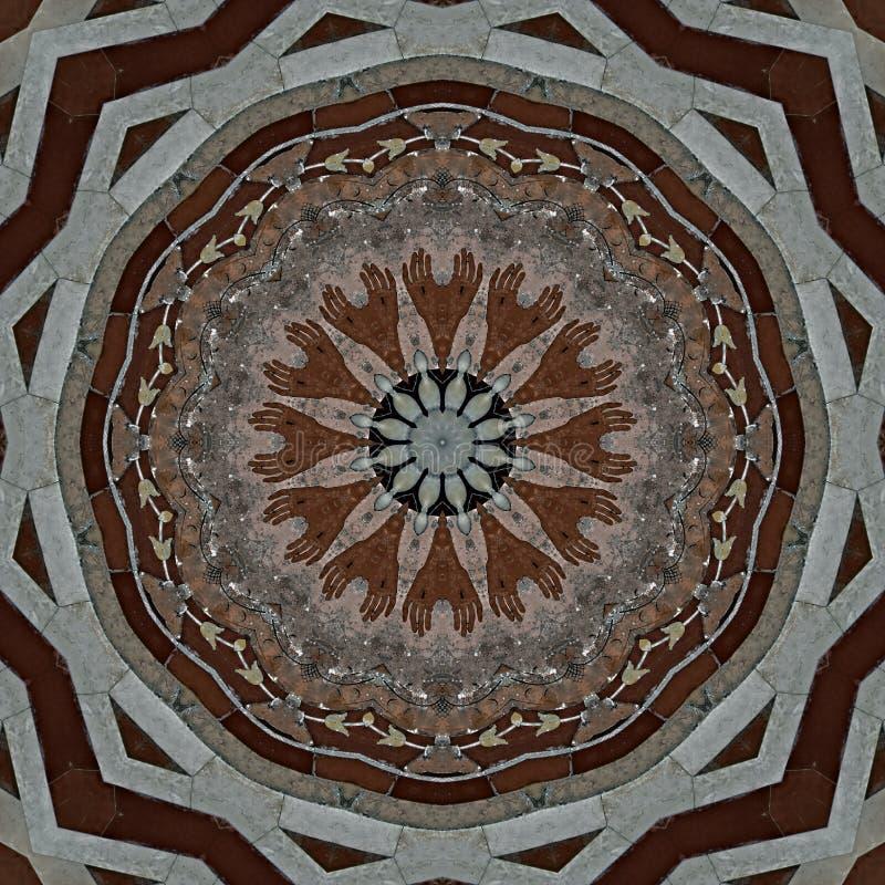 Дизайн цифрового искусства, цветная мозаика в серо-коричневом и красном цвете иллюстрация штока
