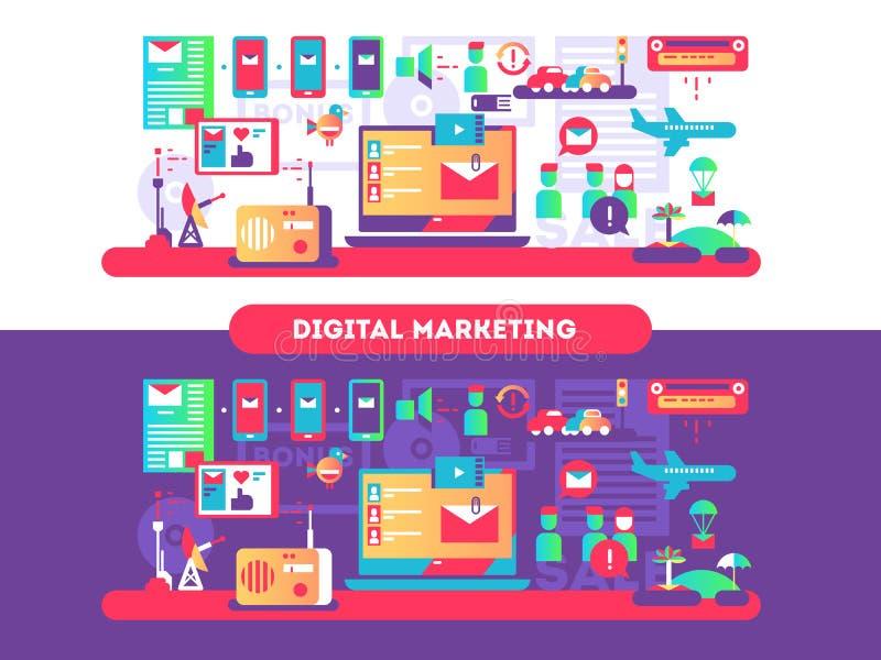 Дизайн цифров выходя на рынок плоско бесплатная иллюстрация