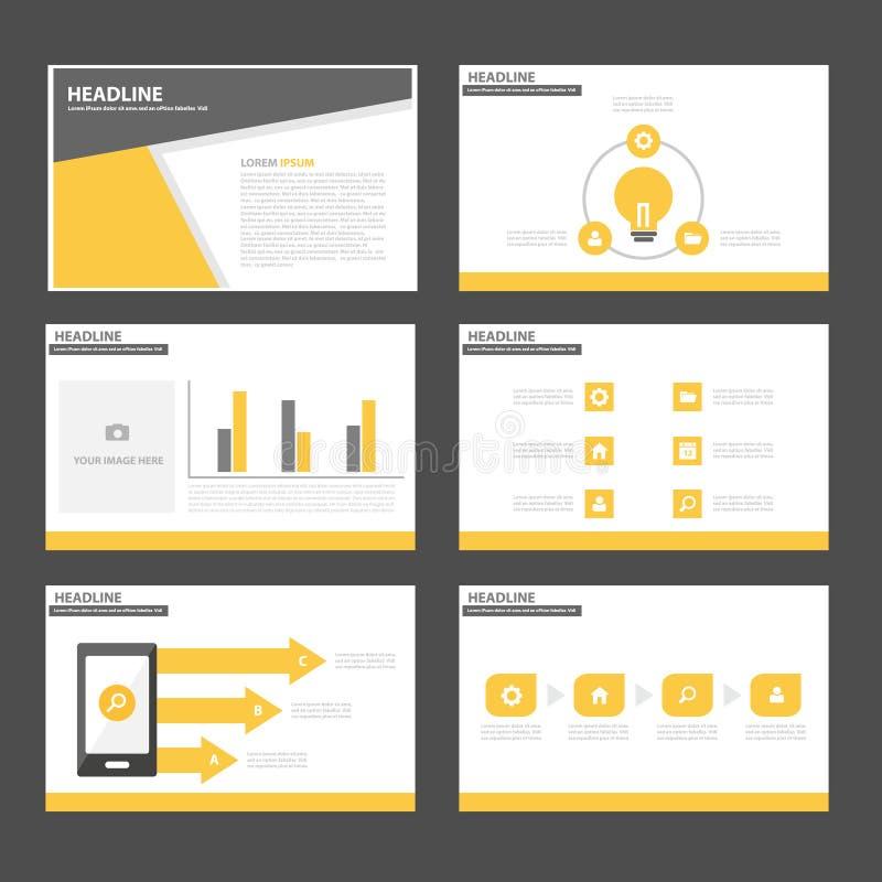 Дизайн черного желтого шаблона представления значка элементов Infographic плоский установил для рекламировать рогульку брошюры ма иллюстрация штока
