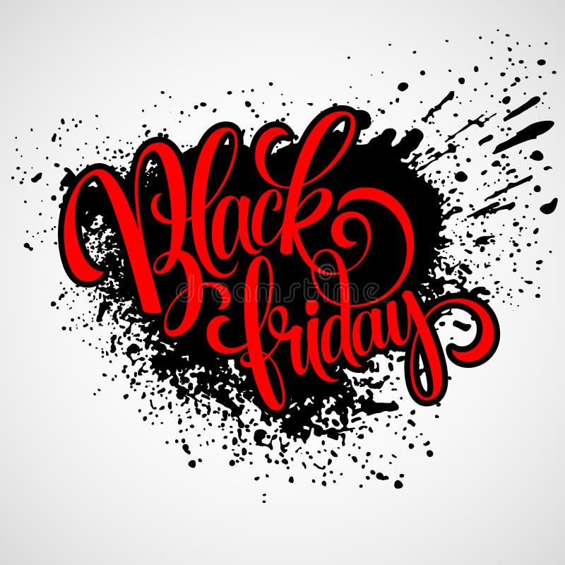 Дизайн черной продажи пятницы каллиграфический вектор иллюстрация штока