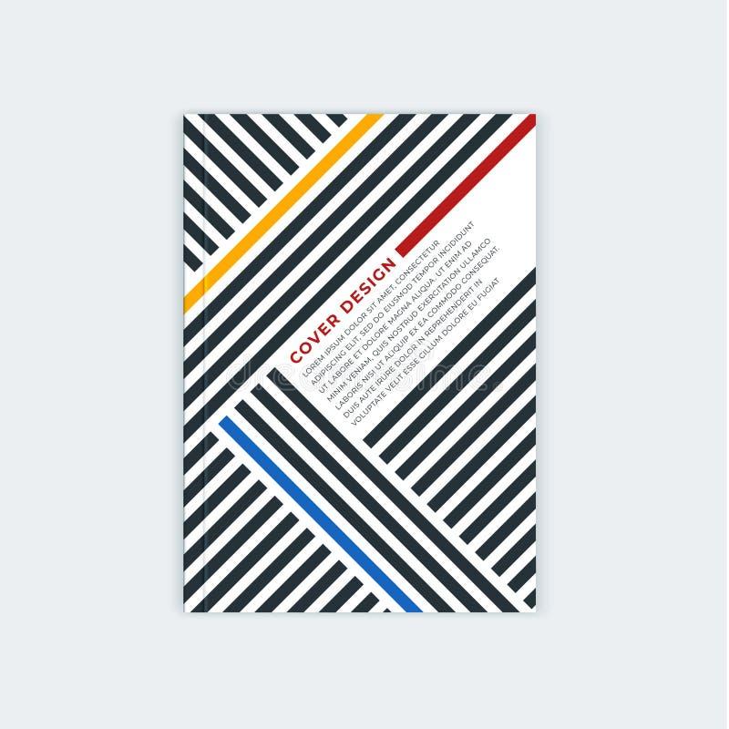 Дизайн шаблона брошюры Minimalistic Рогулька, буклет, шаблон крышки годового отчета Современные раскосные абстрактные нашивки иллюстрация вектора