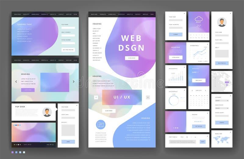 Дизайн шаблона вебсайта с элементами интерфейса иллюстрация вектора