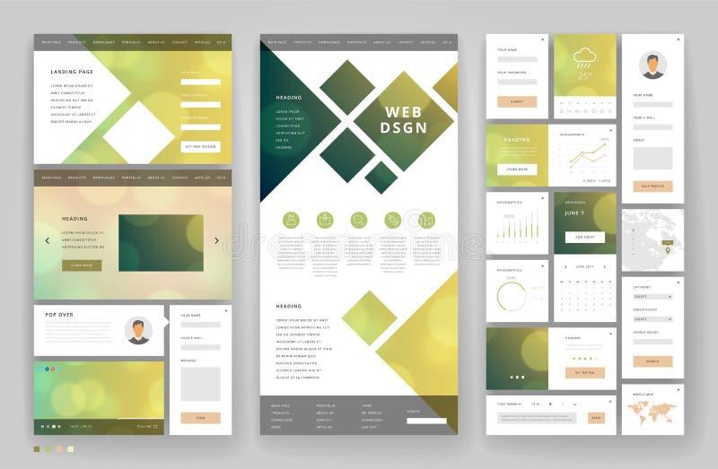Дизайн шаблона вебсайта с элементами интерфейса иллюстрация штока