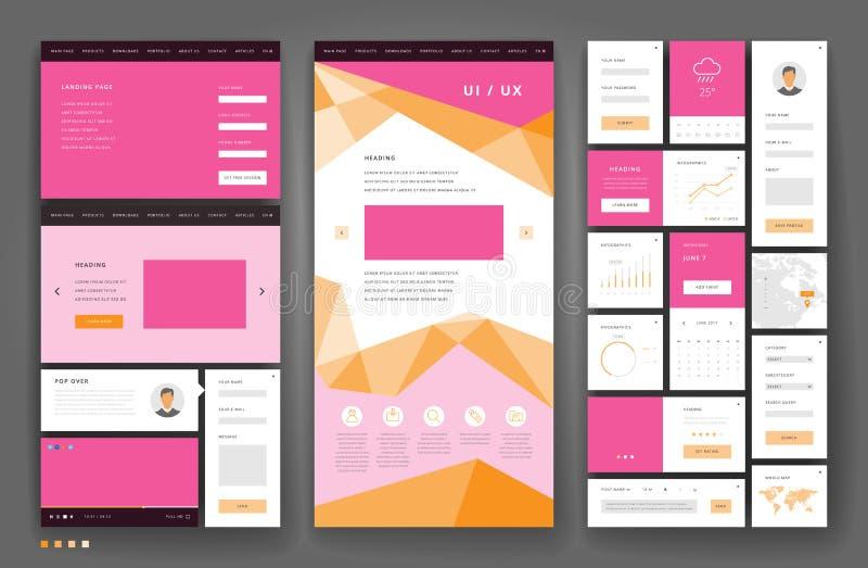 Дизайн шаблона вебсайта с элементами интерфейса бесплатная иллюстрация