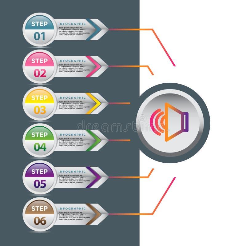 Дизайн шаблона дела infographic с соединенными элементами круга иллюстрация вектора