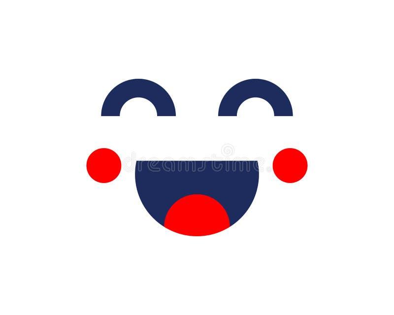 Дизайн шаблона значка улыбки, усмехаясь логотип вектора смайлика, стиль искусства линии забоя бесплатная иллюстрация