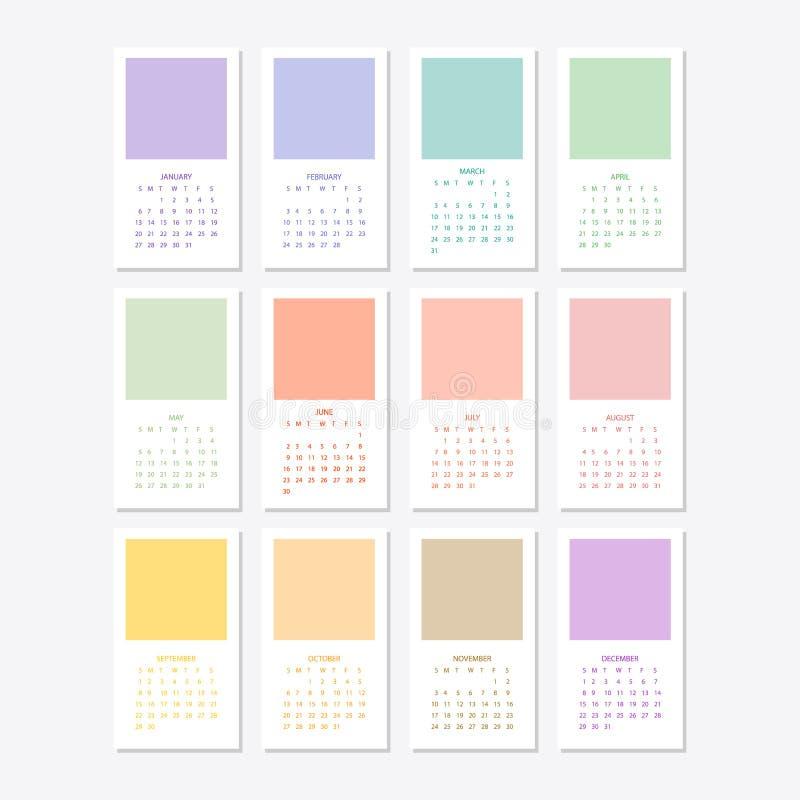 Дизайн шаблона 2019 календарей иллюстрация штока