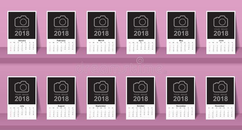 Дизайн 2018 шаблона календаря Неделя начинает от воскресенья иллюстрация вектора