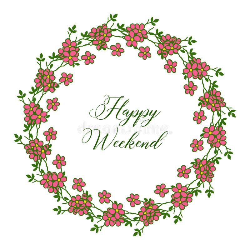 Дизайн шаблона счастливых выходных, места для вашего текста, рамки цветка r иллюстрация штока