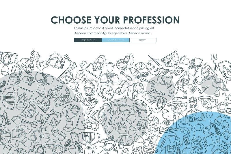Дизайн шаблона вебсайта Doodle профессий иллюстрация вектора