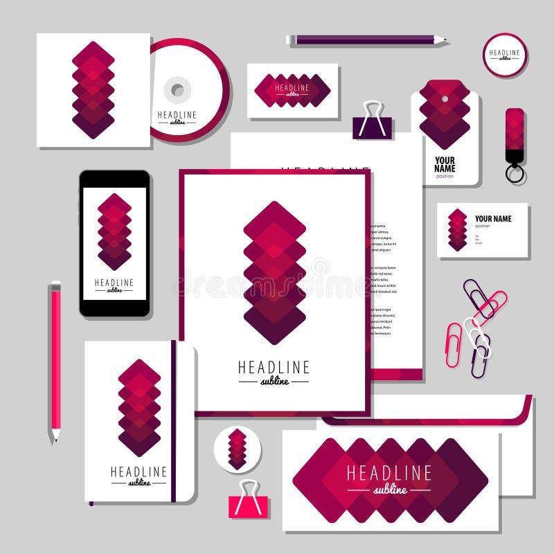 Дизайн шаблона канцелярских принадлежностей вектора с абстрактными элементами бесплатная иллюстрация