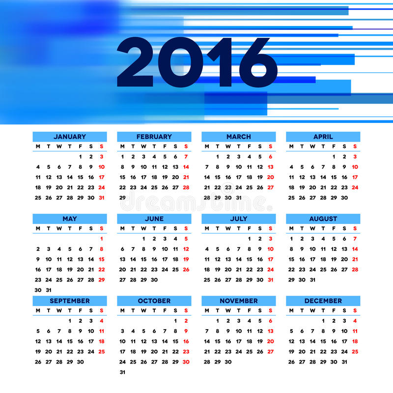 Дизайн 2016 шаблона календаря с изображением заголовка бесплатная иллюстрация