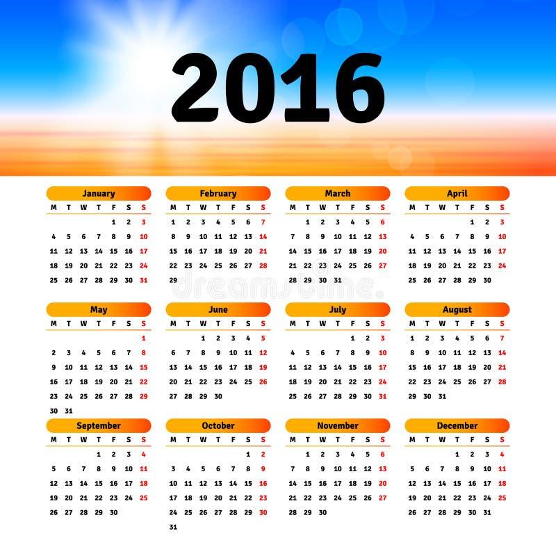 Дизайн 2016 шаблона календаря иллюстрация вектора