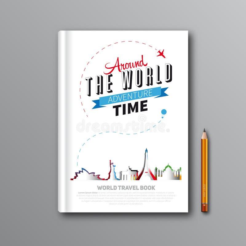 Дизайн шаблона книги перемещения мира можно использовать для обложки книги, m иллюстрация вектора