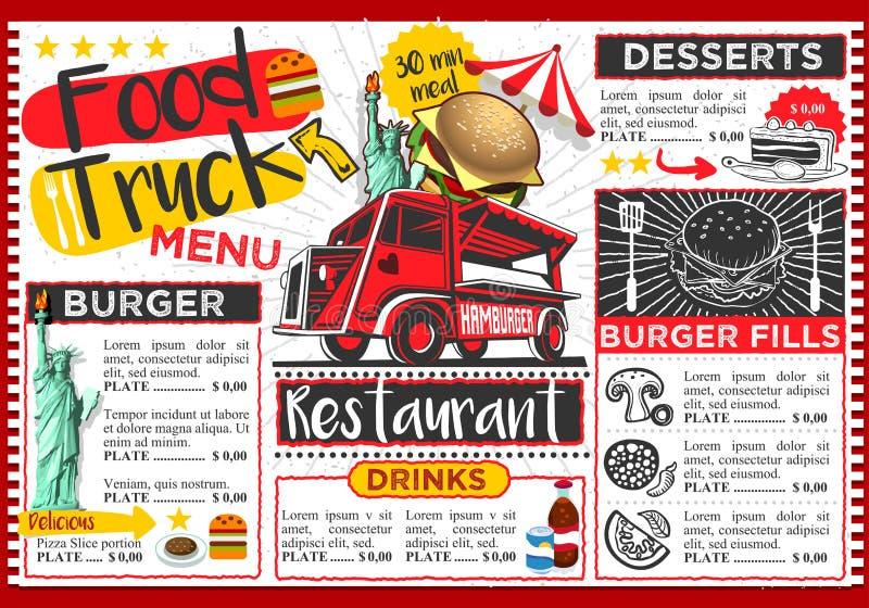 Дизайн шаблона меню вектора фестиваля тележки еды иллюстрация вектора