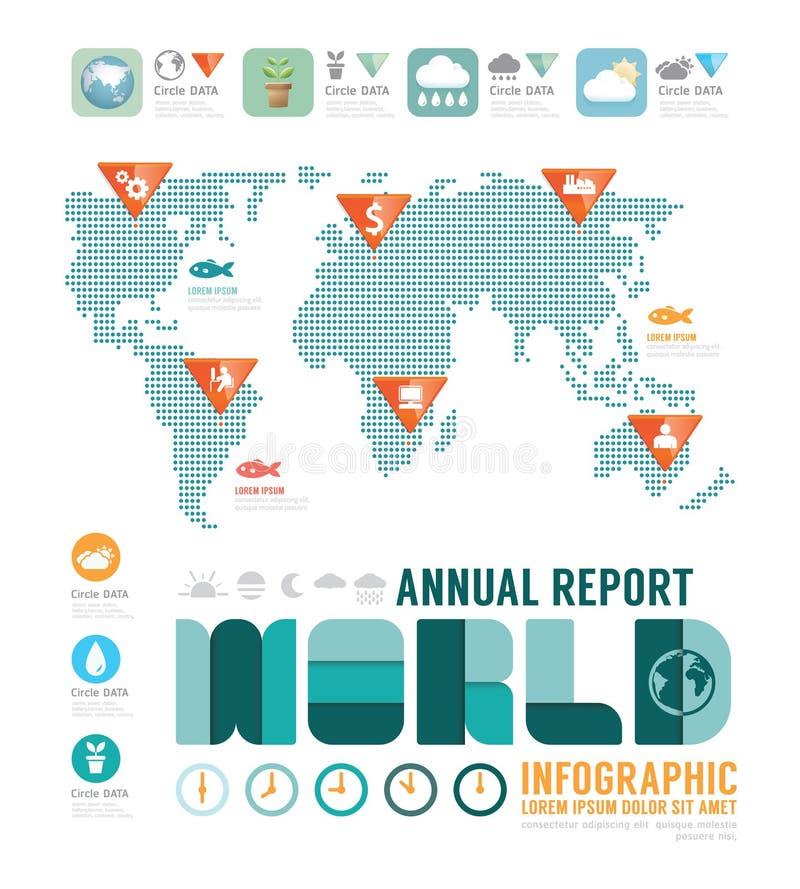 Дизайн шаблона мира годового отчета Infographic вектор концепции иллюстрация вектора