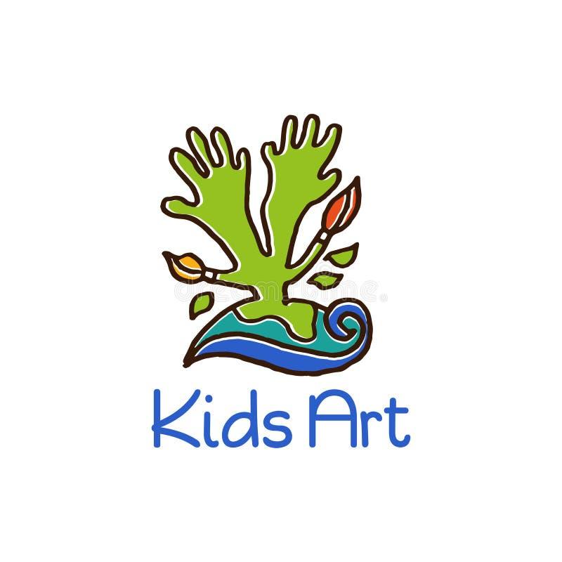 Дизайн шаблона логотипа концепции искусства детей иллюстрация штока