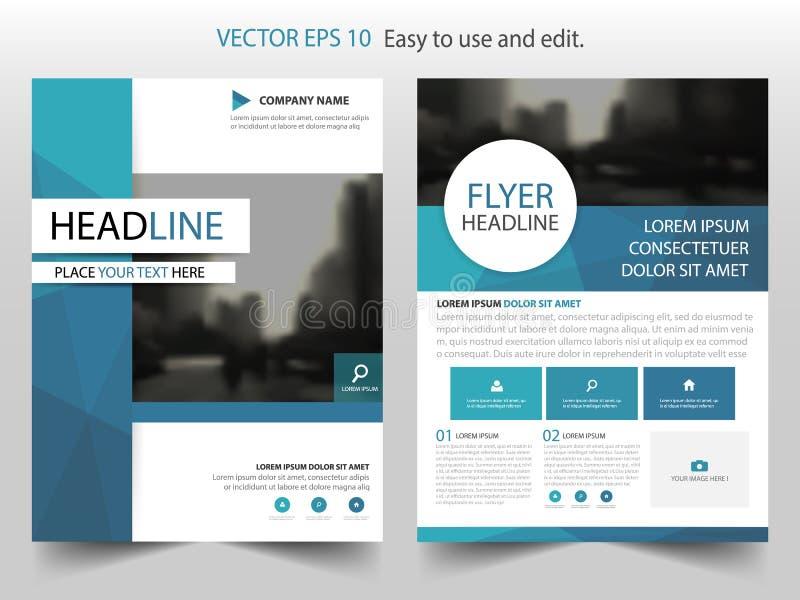 Дизайн шаблона рогульки брошюры листовки годового отчета голубого круга полигональный, дизайн плана обложки книги иллюстрация вектора