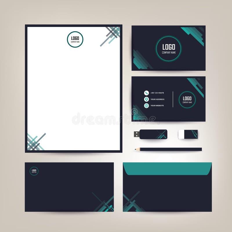 Дизайн шаблона фирменного стиля с канцелярскими принадлежностями дела черных и зеленых цветов установленными стоковые изображения