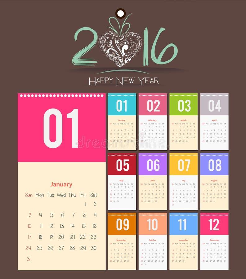 Дизайн шаблона - Calendar 2016 с бумажной страницей на месяцы бесплатная иллюстрация