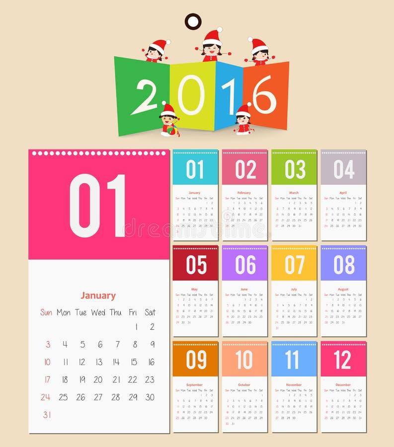 Дизайн шаблона - Calendar 2016 с бумажной страницей на месяцы иллюстрация вектора