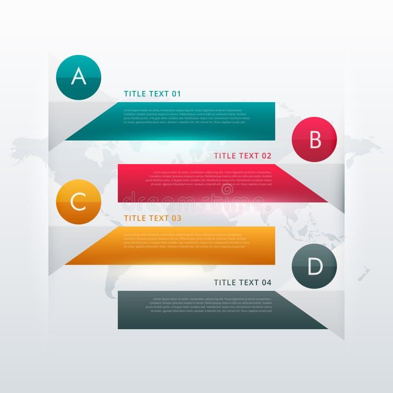 дизайн 4 шагов красочный infographic для визуализирования данных иллюстрация штока