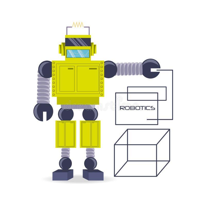 дизайн шаржа робота иллюстрация вектора
