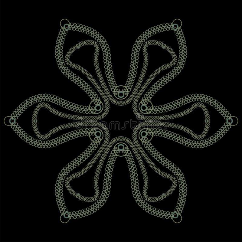Дизайн шнурка вектора конспекта круглый - мандала, декоративный элемент с экземпляр-космосом в индийском стиле иллюстрация вектора