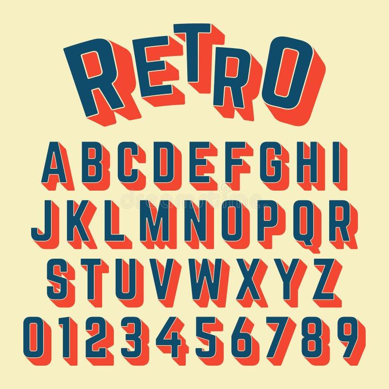 Дизайн шрифта алфавита ретро иллюстрация штока