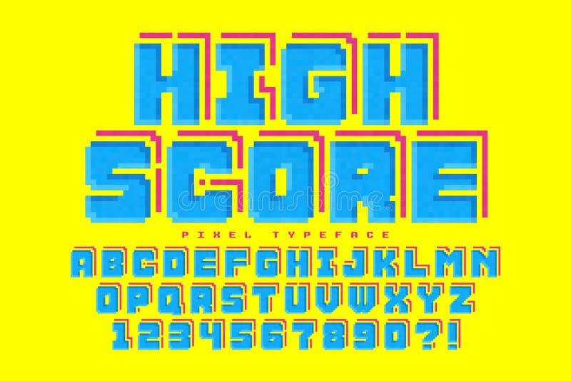 Дизайн шрифта вектора пиксела, стилизованный как в 8-разрядные игры иллюстрация штока