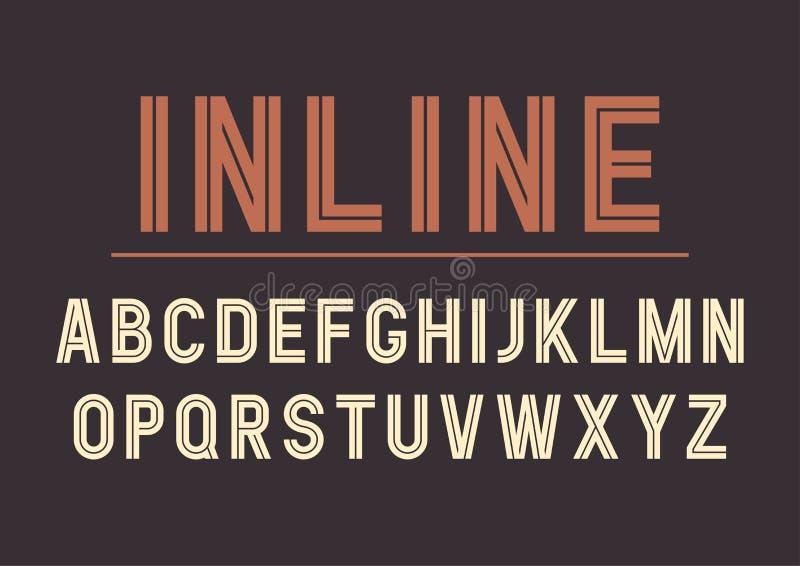 Дизайн шрифта вектора ретро встроенный смелейший, алфавит, пальмира иллюстрация штока