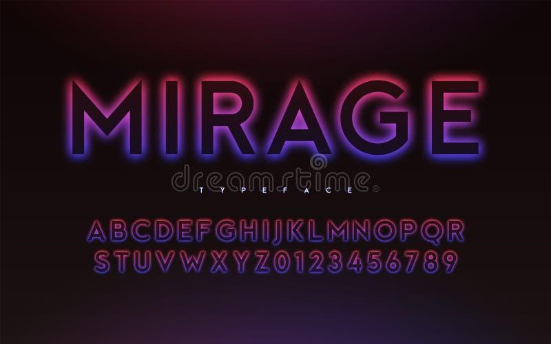 Дизайн шрифта стиля неонового света или затмения вектора ультрамодный накаляя иллюстрация штока