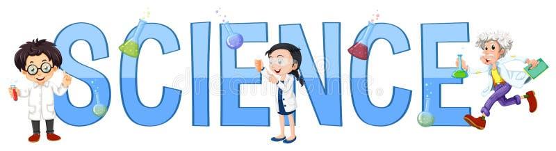 Дизайн шрифта с наукой слова бесплатная иллюстрация