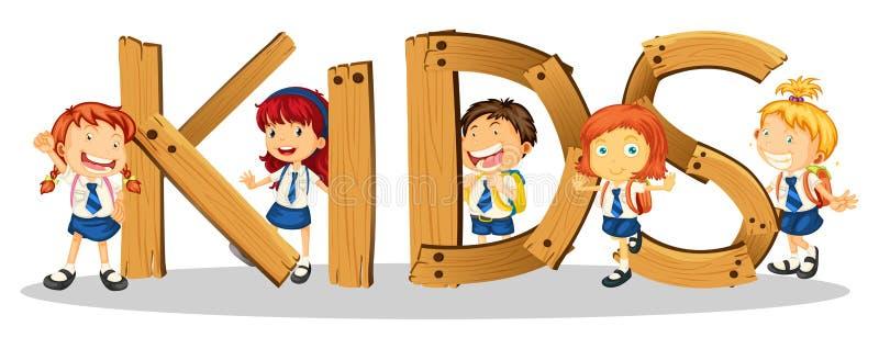 Дизайн шрифта для детей слова бесплатная иллюстрация