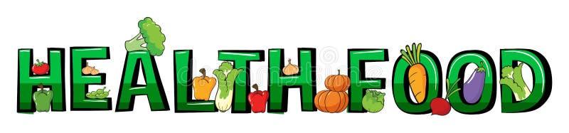 Дизайн шрифта для здоровой еды слова бесплатная иллюстрация