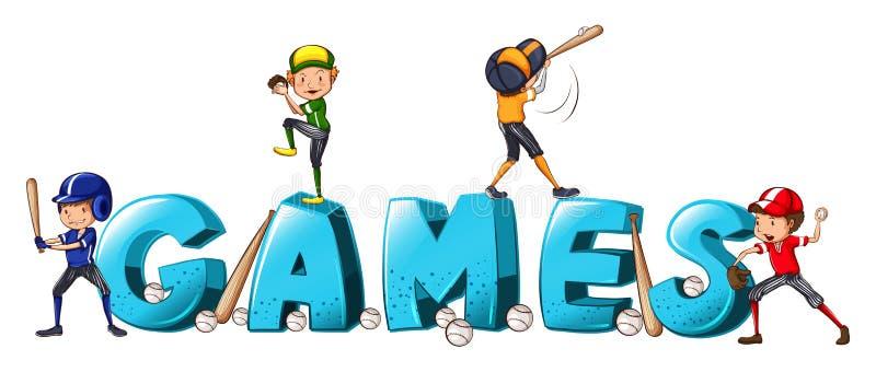 Дизайн шрифта для игр в слова при люди играя бейсбол иллюстрация вектора