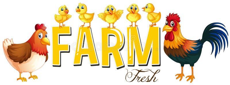 Дизайн шрифта для фермы слова с цыплятами бесплатная иллюстрация