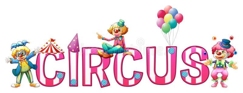 Дизайн шрифта для цирка слова бесплатная иллюстрация